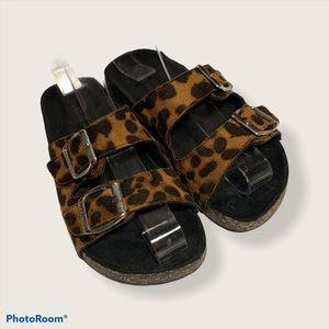 Girl's Leopard Print Double Buckle Cork Sandals